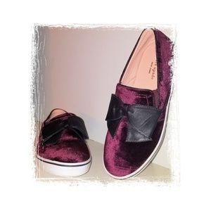 Fab Kate Spade Slip On Sneaker Velvet Leather Bow
